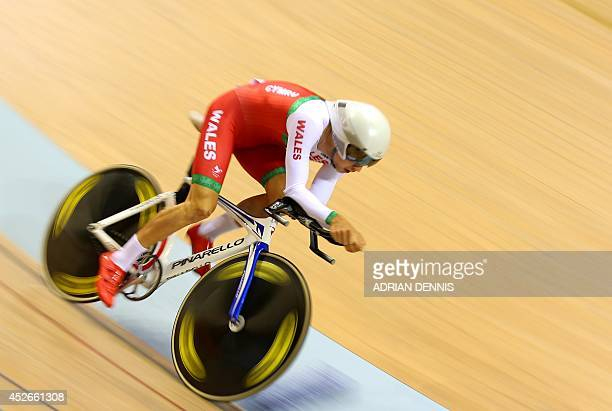 Wales's Owain Doull competes in the men's 4000m individual pursuit in the Sir Chris Hoy Velodrome during the 2014 Commonwealth Games in Glasgow...