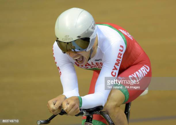 Wales's Owain Doull in the Men's 4000m Individual Pursuit Bronze Medal race at the Sir Chris Hoy Velodrome during the 2014 Commonwealth Games in...