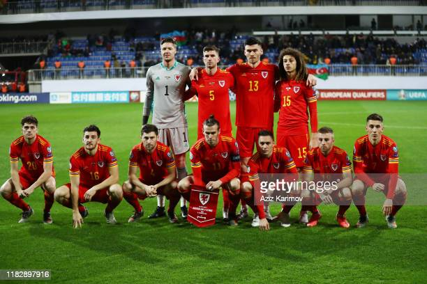 Wales's squad poses prior to the UEFA Euro 2020 Group E Qualifier match match between Azerbaijan and Wales at Bakcell Arena on November 16, 2019 in...