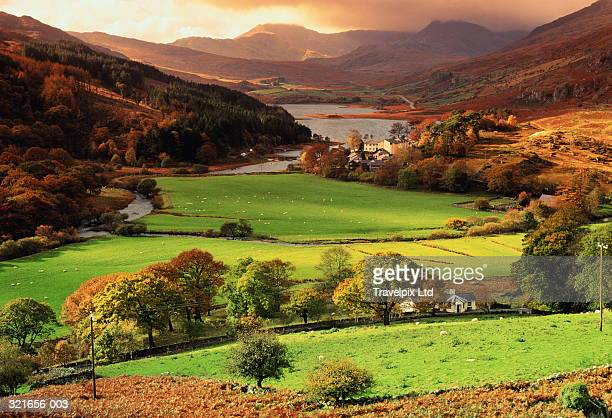 Wales,Snowdonia,Llynnau Mymbyr,view over valley floor to mountains