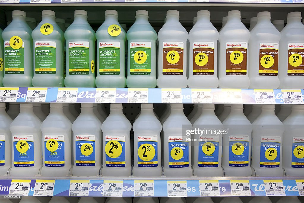 Walgreen's isopropyl alcohol sits on display at a store in