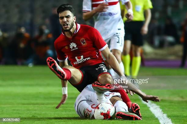 Walid Azaro of AlAhly in action against AlZamalek player during the Egypt Premier League Fixtures 17 match between Al Ahly and Zamalek at the Cairo...