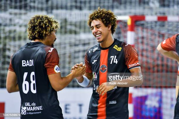 Walid Badi and Antonin Mohamed of Ivry celebrate during the Lidl Starligue match between Ivry and Pontault Combault on September 12 2018 in...