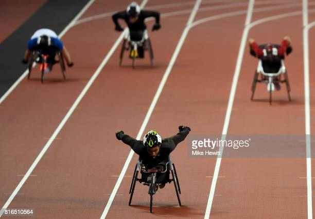 Walid Ktila of Tunisia comes in to win the Men's 400m T34 Final during day four of the IPC World ParaAthletics Championships 2017 at the London...