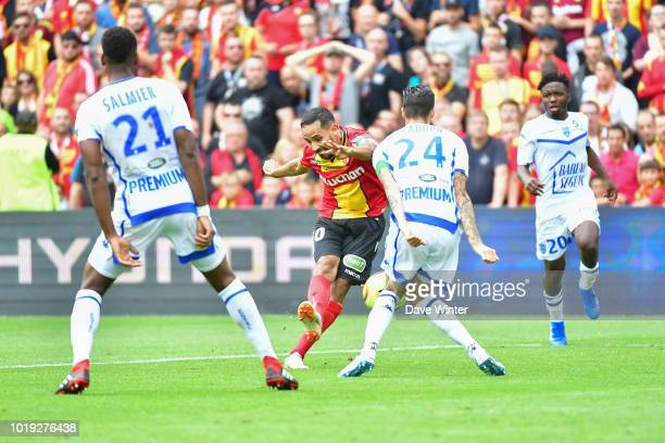 Walid Mesloub of Lens fires his shot against Jimmy Giraudon of Troyes during the French Ligue 2 match between RC Lens and Troyes at Stade...