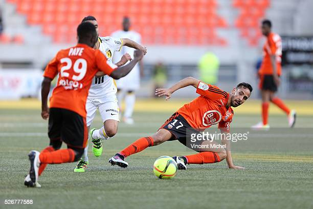 Walid Mesloub of Lorient during the French Ligue 1 match between Fc Lorient and Lille OSC at Stade du Moustoir on April 30, 2016 in Lorient, France.