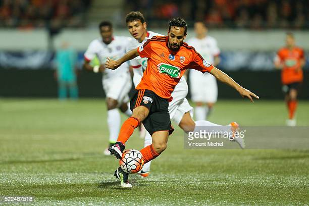 Walid Mesloub of Lorient during the semi-final French Cup between Lorient and Paris Saint-Germain at Stade du Moustoir on April 19, 2016 in Lorient,...