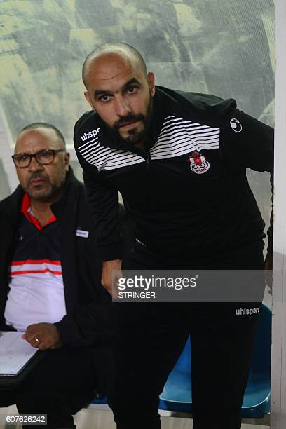 Walid Regragui the head coach of FUS RABAT looks on before the first leg of the 2016 Caf Confederation Cup semifinal against MO Bejaia at the Stade...