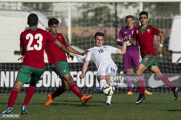 Walid Sabbar of Morocco U21 Walid el Karti of Morocco U21 Jamie Hanson of England U21 goalkeeper Christian Walton of England U21 Achraf Bencharki of...