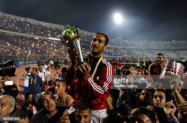 Walid Solaiman of AlAhly holds the trophy after the victory against Sewe Sport within the second leg of the CAF Confederation Cup final football...