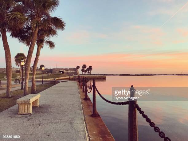 a walk along the water in st. augustine - st. augustine florida stock photos and pictures