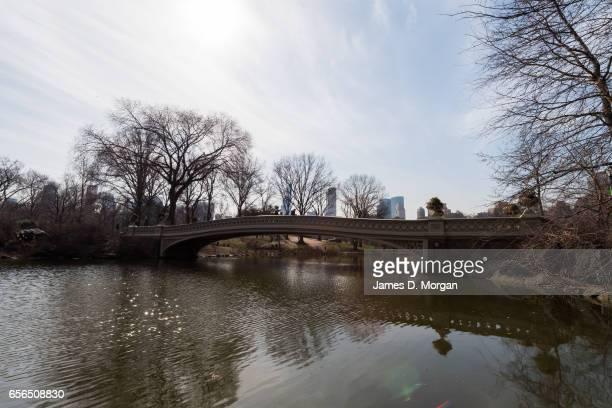 Walk Bridge over pond in Central Park in New York City on Feb 28th 2017