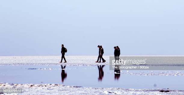 a walk in the salt lake - the storygrapher stock-fotos und bilder
