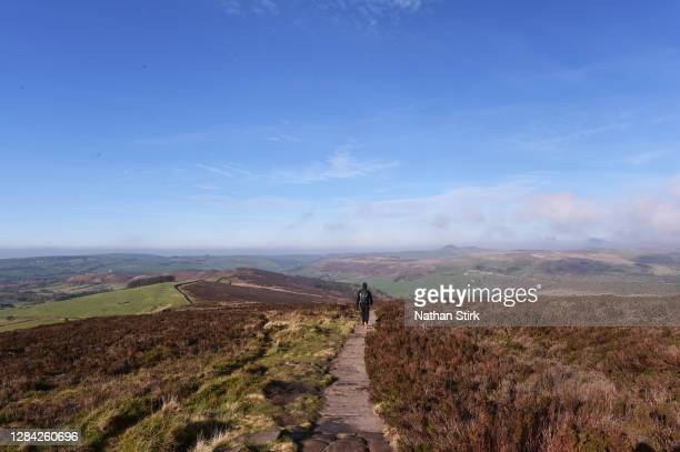 Walk is seen taking part during a daily exercise as they walk at the Roaches in the Peak District on November 06, 2020 in Leek, Staffordshire .