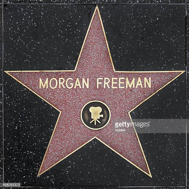 walk of fame hollywood star - morgan freeman - beroemdheden stockfoto's en -beelden