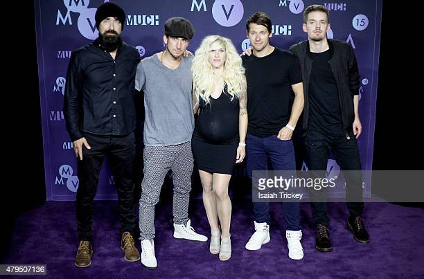 Walk Off The Earth pose in the press room at the 2015 Much Music Video Awards at MuchMusic HQ on June 21 2015 in Toronto Canada