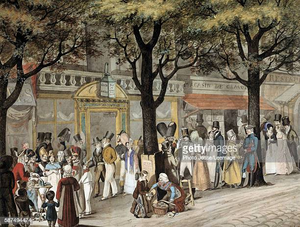 Walk on a boulevard in Paris 1819 Watercolour by Joseph Louis Bellange 1819 Carnavalet Museum Paris France