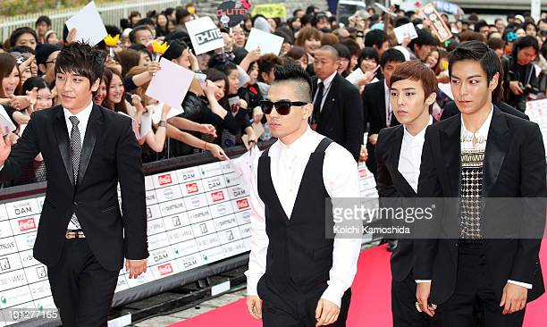 BIGBANG walk on the red carpet during the MTV World Stage VMAJ 2010 at Yoyogi National Gymnasium on May 29 2010 in Tokyo Japan
