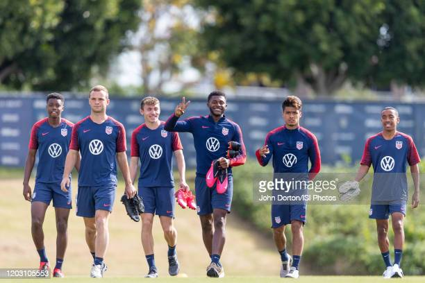 USMNT walk onto the field at Dignity Health Sports Park at Dignity Health Sports Park on January 30 2020 in Carson California