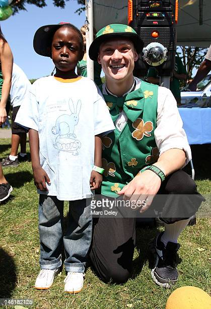 Walk Participant with Lucky the Leprechaun of the Boston Celtics at the 10th Annual NSTAR's Walk for Children's Hospital Boston Birthday Bash at DCR...