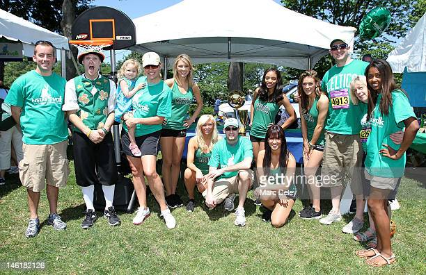 Walk Participants Boston Celtics Dancers and Lucky the Leprechaun at the 10th Annual NSTAR's Walk for Children's Hospital Boston Birthday Bash at DCR...