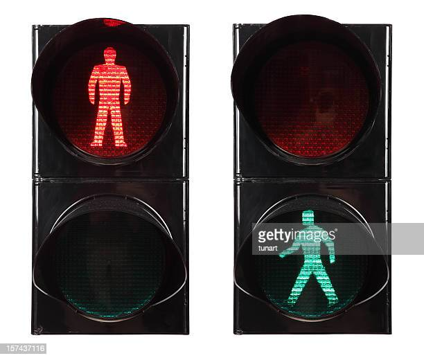 walk signal - pedestrian crossing stock photos and pictures