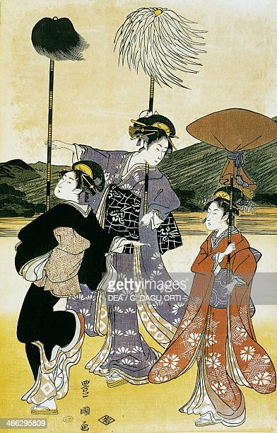 Walk towards Mount Fuji ukiyoe art print by Suzuki Harunobu woodcut Japanese civilisation Edo period 17th19th century Detail
