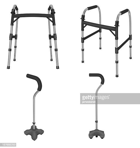 walker and quad cane (3d) - walking cane stock photos and pictures