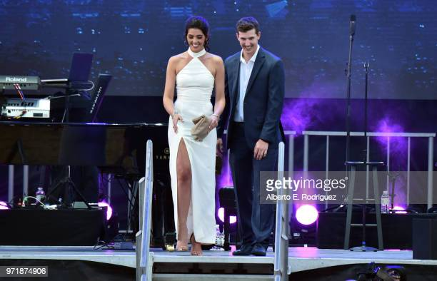 Walker Buehler and McKenzie Marcinek attend the Fourth Annual Los Angeles Dodgers Foundation Blue Diamond Gala at Dodger Stadium on June 11, 2018 in...