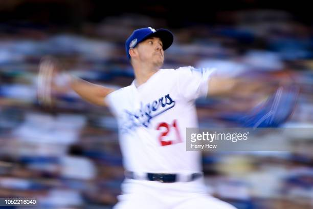 Walker Buehler of the Los Angeles Dodgers delivers a pitch in the second inning against the Milwaukee Brewers in Game Three of the National League...