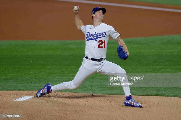 Walker Buehler of the Los Angeles Dodgers pitches against the Atlanta Braves during the first inning in Game One of the National League Championship...