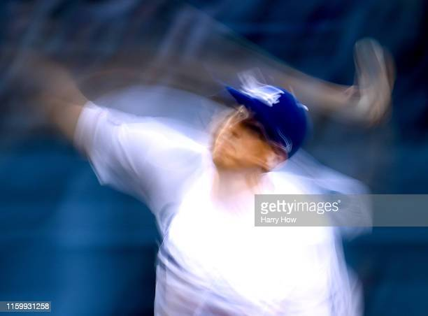 Walker Buehler of the Los Angeles Dodgers pitches during the third inning against the Arizona Diamondbacks at Dodger Stadium on July 03 2019 in Los...