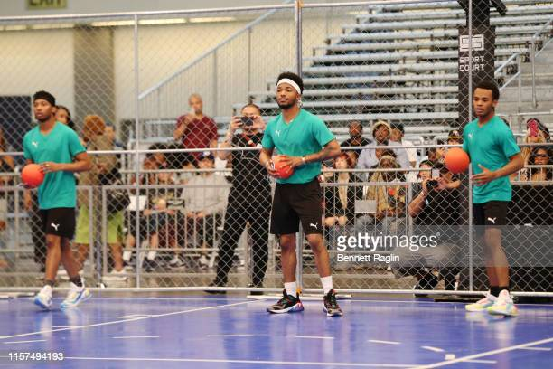 RJ Walker Christopher Jefferson and Jelani Winston attend the 2019 BET Experience Celebrity Dodgeball Game at Staples Center on June 21 2019 in Los...