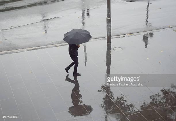 Walker in the rain