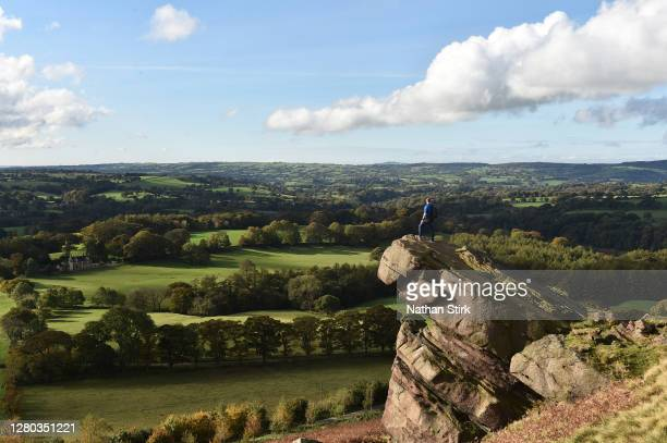 Walker is seen enjoying the countryside view in the peak district on October 15, 2020 in Wincle, Cheshire,.