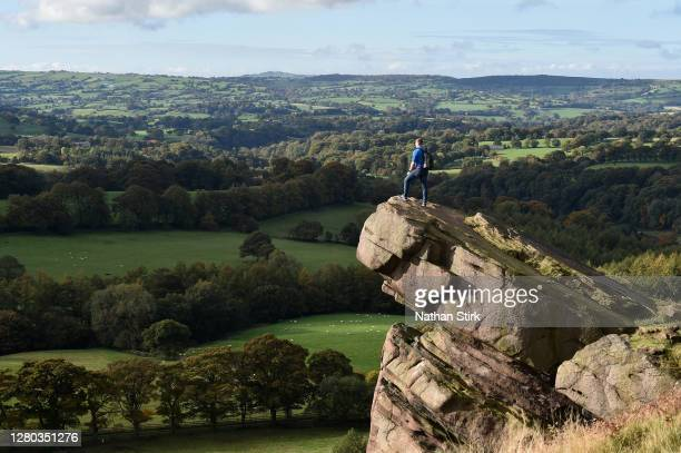 Walker is seen enjoying the countryside view in the peak district on October 15, 2020 in Wincle, Cheshire.