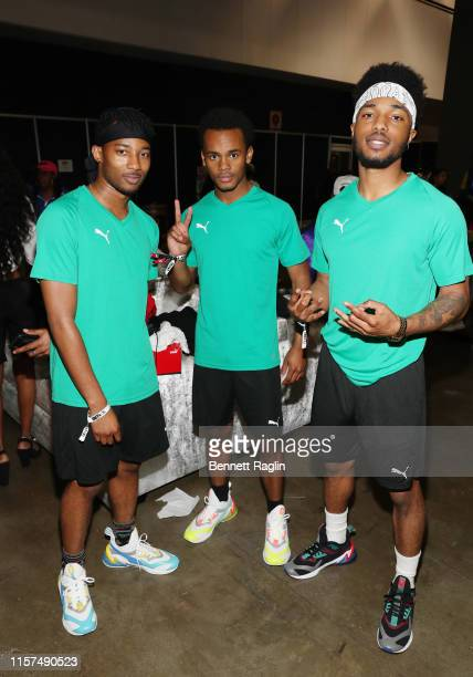 RJ Walker Jelani Winston and Christopher Jefferson attend the 2019 BET Experience Celebrity Dodgeball Game at Staples Center on June 21 2019 in Los...