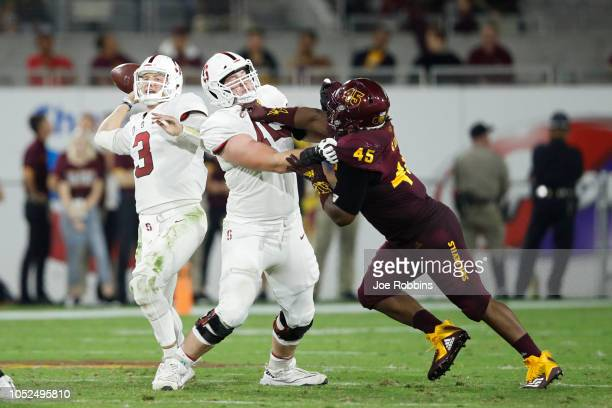 Walker Little of the Stanford Cardinal blocks for KJ Costello against George Lea of the Arizona State Sun Devils in the third quarter of the game at...
