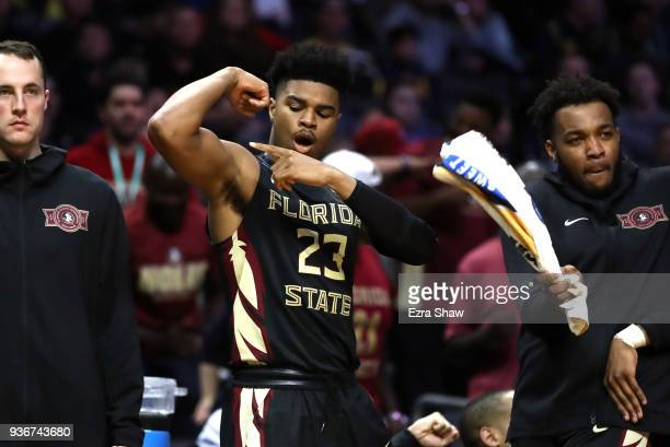 J Walker of the Florida State Seminoles celebrates his teams lead against the Gonzaga Bulldogs during the second half in the 2018 NCAA Men's...