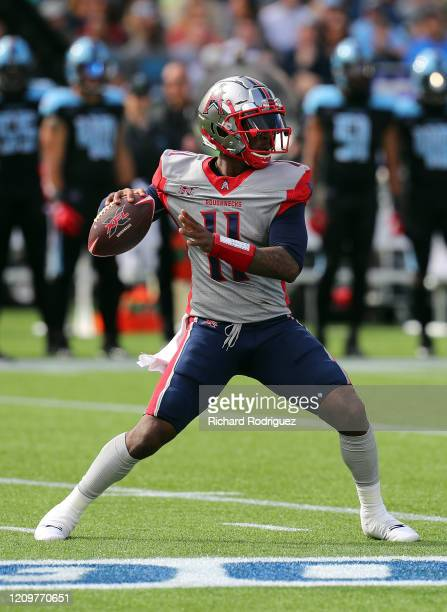 J Walker of the Houston Roughnecks looks to pass against the Dallas Renegades at an XFL football game on March 01 2020 in Arlington Texas