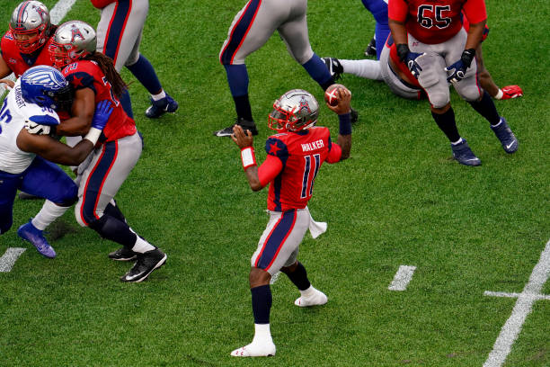J Walker of the Houston Roughnecks passes against the St Louis BattleHawks at TDECU Stadium on February 16 2020 in Houston Texas