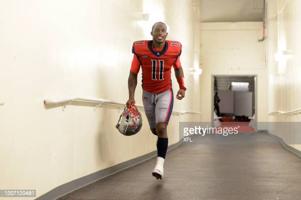 J Walker of the Houston Roughnecks runs back to the locker room after the game against the St Louis BattleHawks at TDECU Stadium on February 16 2020...