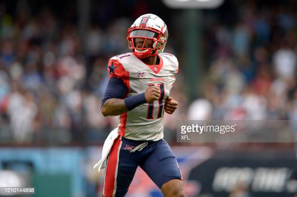J Walker of the Houston Roughnecks runs off the field at halftime during the XFL game against the Dallas Renegades at Globe Life Park on March 1 2020...