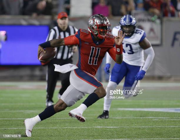 J Walker of the Houston Roughnecks runs with the ball during the fourth quarter against the St Louis Battlehawks at TDECU Stadium on February 16 2020...