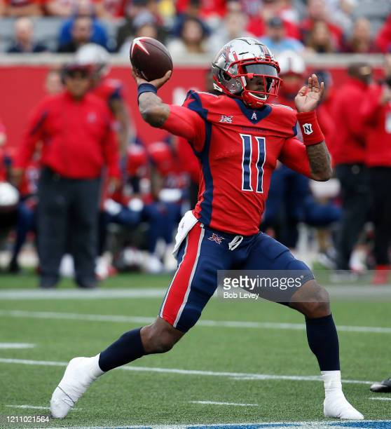 J Walker of the Houston Roughnecks throws a pass downfield against the Seattle Dragons during an XFL game at TDECU Stadium on March 07 2020 in...