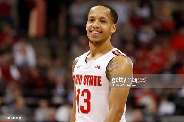 Walker of the Ohio State Buckeyes on the court in the game against the Maryland Terrapins at Value City Arena on February 23 2020 in Columbus Ohio