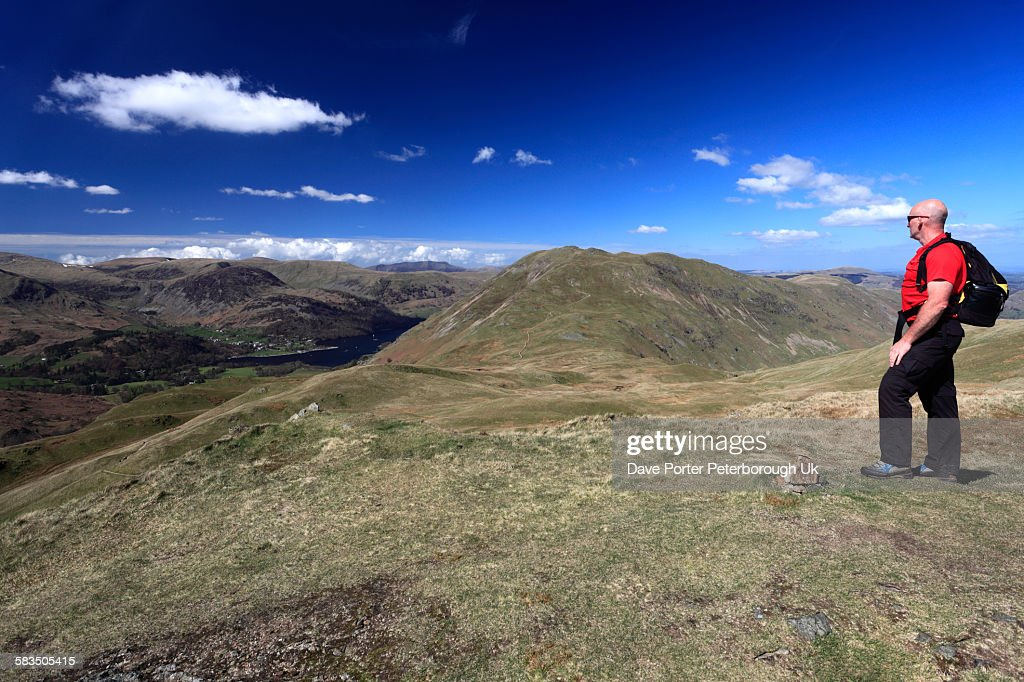 Walker on Angletarn Pikes, Lake District : Stock Photo