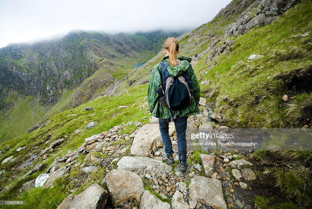 A walker on Snowdon : Stock Photo