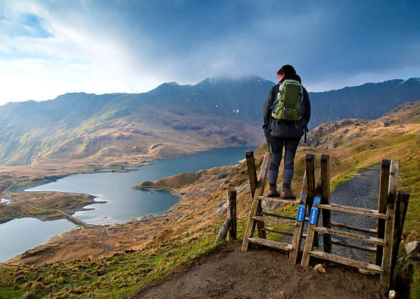 Walker on the Pyg track ascending Snowdon