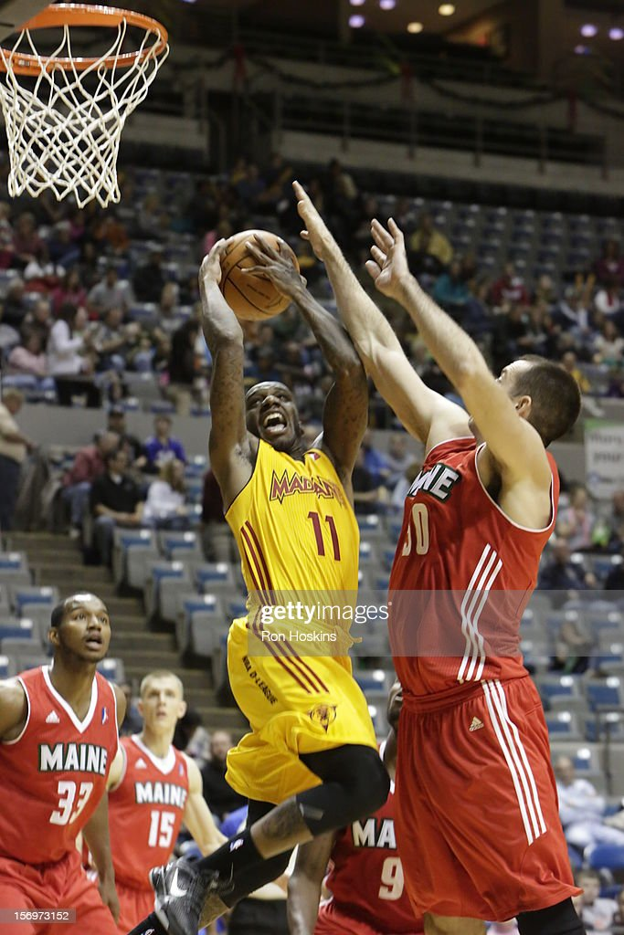 Walker Russell Jr. #11 of the Fort Wayne Mad Ants battles Chris Ayers # 50 of the Maine Red Claws at Allen County Memorial Coliseum on November 25, 2010 in Fort Wayne, Indiana.